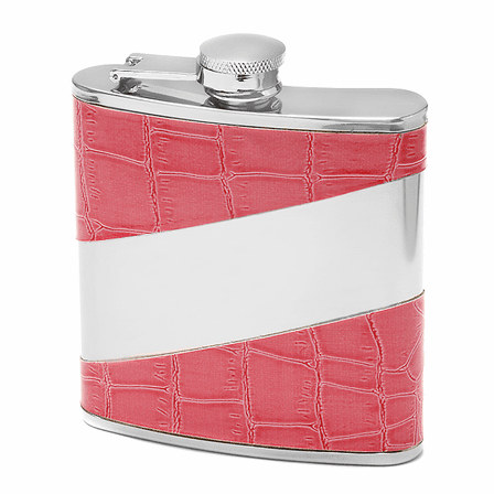 Pink Leather Engraved  Flask For Women