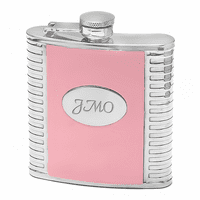 Pink Leather & Steel Engraved Flask