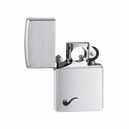 Pipe Lighter Brushed Chrome Zippo Lighter - ID# 200PL