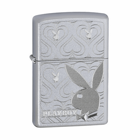 Playboy Bunny Hearts Satin Chrome Zippo Lighter - ID# 28077