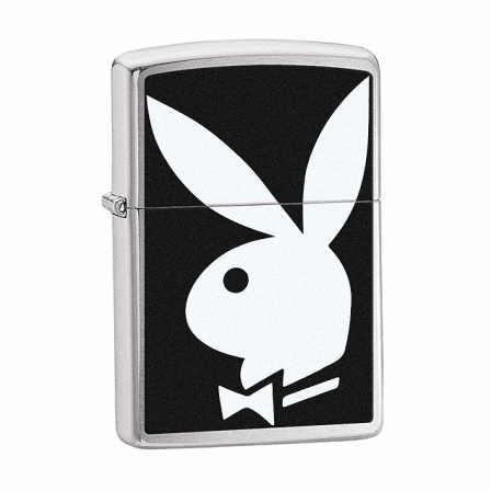 Playboy Bunny Logo Brushed Chrome Zippo Lighter - ID# 28269 - Discontinued