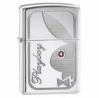Playboy Bunny With Pink Crystal High Polish Chrome Zippo Lighter - ID# 24789 - Discontinued