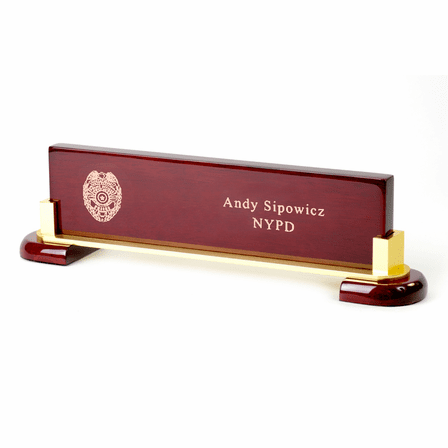 Police Badge Desktop Walnut Name Bar