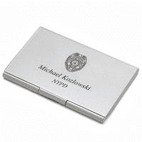 Police Badge Engraved Business Card Case