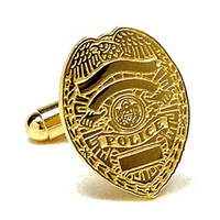 Police Badge Gold Plated Cufflinks - Discontinued