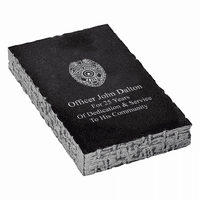 Police Shield Personalized Black Marble Paperweight