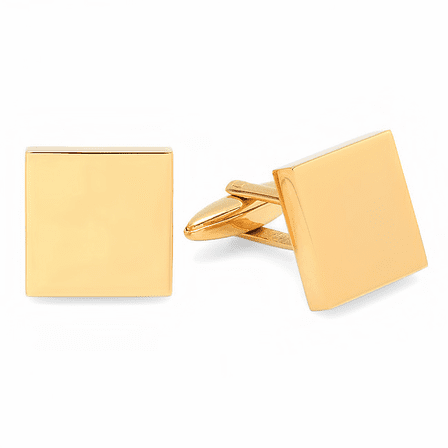 Polished Brass Square Block Engraved Cufflinks