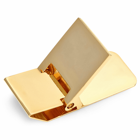 Polished Gold Engraved Hinged Money Clip