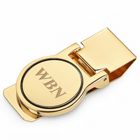 Polished Gold Round Face Engraved Hinged Money Clip