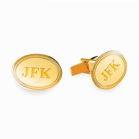 Polished Oval Engraved 14K Gold Cufflinks with Step Border