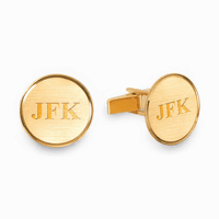 Polished Round Engraved 14K Gold Cufflinks