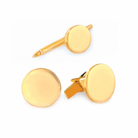 Polished Round Engraved 14K Gold Cufflinks & Studs Set