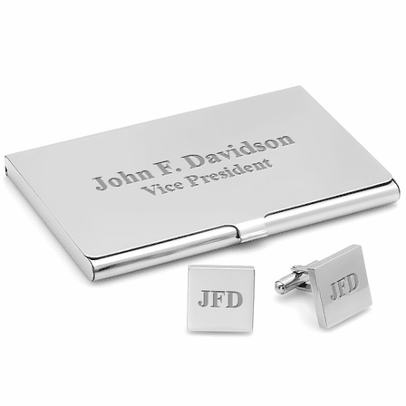 Polished Silver Engraved  Business Card Holder & Cufflinks Gift Set