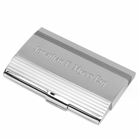 Polished Silver Engraved Business Card Holder with Lines