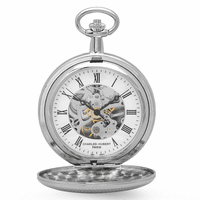 Polished Silver Mechanical Pocket Watch & Chain by Charles Hubert #3537