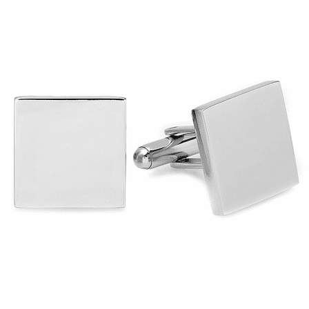 Polished Silver Square Block Cufflinks - Free Engraving