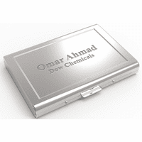 Polished Steel Engraved Business Card Case/File