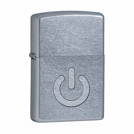 Power Button Street Chrome Zippo Lighter - ID# 28329 - Discontinued
