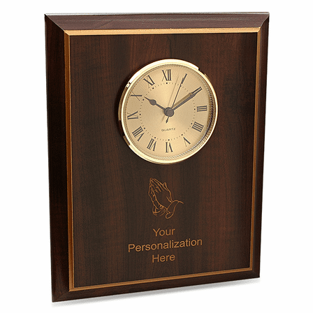Praying Hands Cherry Wood Recognition Plaque with Clock