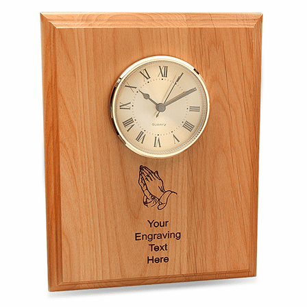 Praying Hands Red Alder Recognition Plaque with Clock