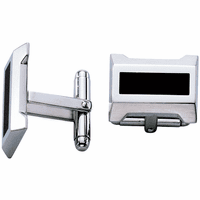 Precision Collection Stainless Steel & Black Lacquer Cufflinks