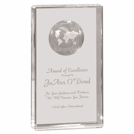 Premier Crystal Personalized Rectangle With Inlaid Globe