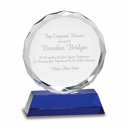 Premier Personalized Round Crystal Award On Blue Crystal Base