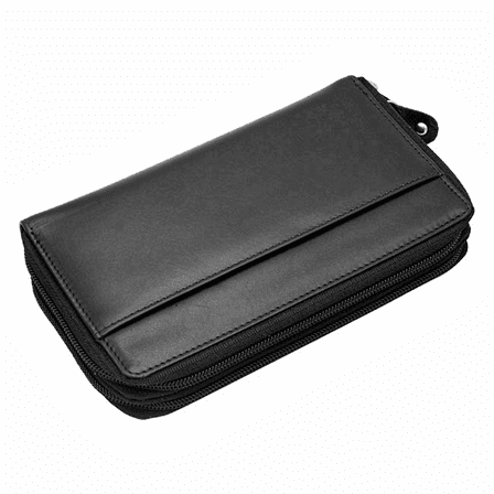 Premium Leather Double Zipper Closing Lady's Checkbook Clutch