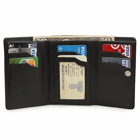 Premium Leather Snap Closing Ladies Credit Card Wallet