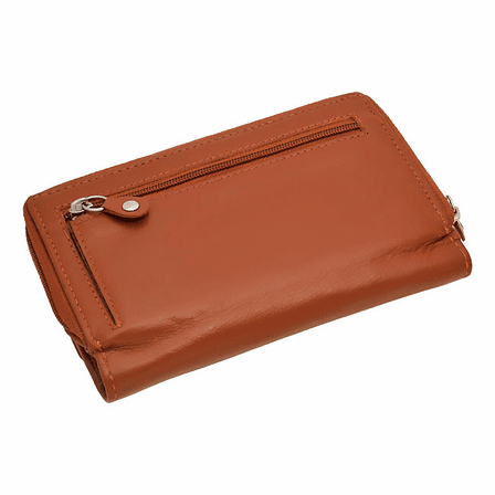 Premium Leather Snap Closing Zipper Wallet For Women