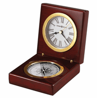 Pursuit Desktop Compass & Clock by Howard Miller