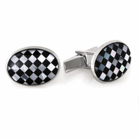 Racer Series Onyx & Mother of Pearl Sterling Silver Cufflinks