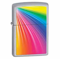 Rainbow Satin Chrome Zippo Lighter - ID# Z277