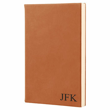 Rawhide Tone Journal with Black Satin Bookmark with Personalized Initials