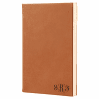Rawhide Tone Journal with Black Satin Bookmark with Script Monogram