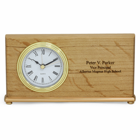 Red Alder Personalized Rectangular Desk Clock Executive Gift Shoppe