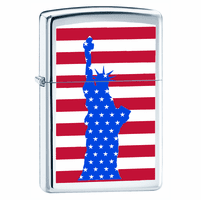 Red, White & Blue Statue of Liberty High Polish Chrome Zippo Lighter - ID# 62770 - Discontinued