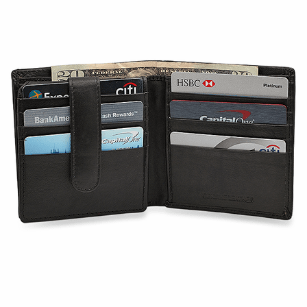 RFID Blocking Bifold Wallet With Snap Secured Credit Card Flap