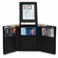 RFID Blocking Black Leather Trifold Wallet With Flip Up ID Holder