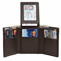 RFID Blocking Brown Leather Trifold Wallet With Flip Up ID Holder