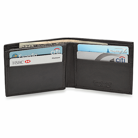 RFID Blocking Secret Compartment Wallet With Center ID Flap