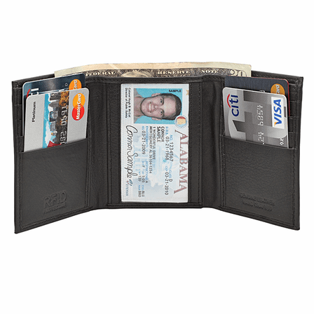 RFID Blocking Trifold Wallet With Center ID Window