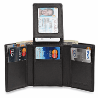 RFID Blocking Trifold Wallet With Flip Up ID Flap