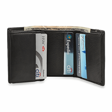 RFID Blocking Trifold Wallet With ID Flap