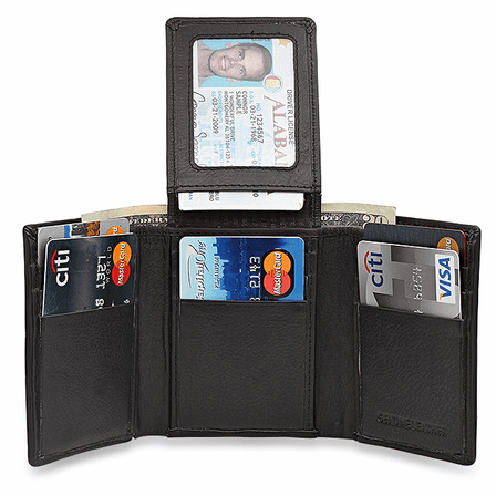 RFID Collection Trifold Wallet With Flip Up ID Flap