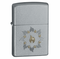 Ring of Fire Satin Chrome Zippo Lighter - ID# 21192