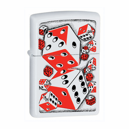 Roll The Dice White Matte Zippo Lighter - Discontinued