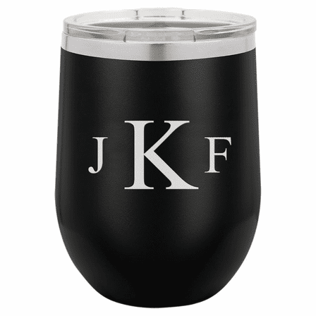Roman Monogram 12 Ounce Black Insulated Stemless Wine Glass