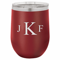 Roman Monogram 12 Ounce Maroon Insulated Stemless Wine Glass