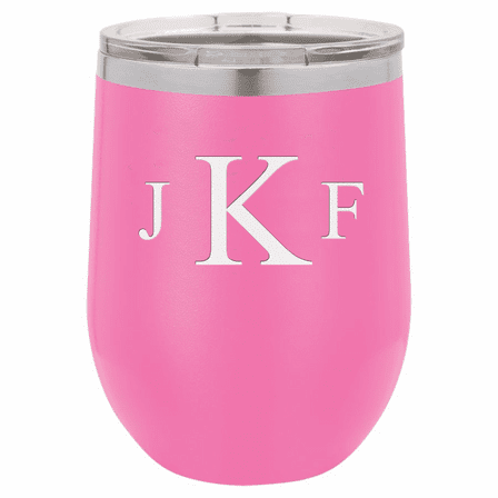 Roman Monogram 12 Ounce Pink Insulated Stemless Wine Glass